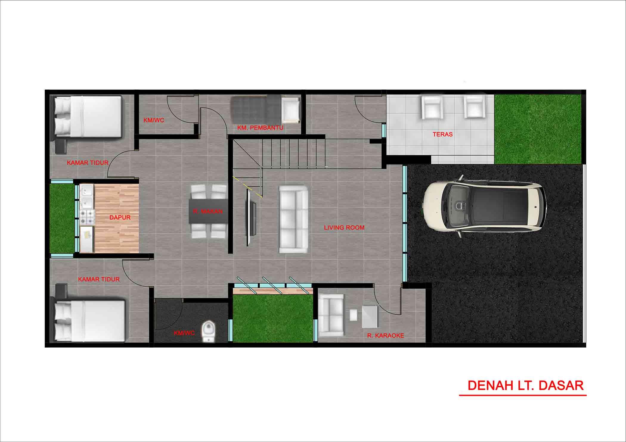 Denah lantai dasar // Kenali's Studio