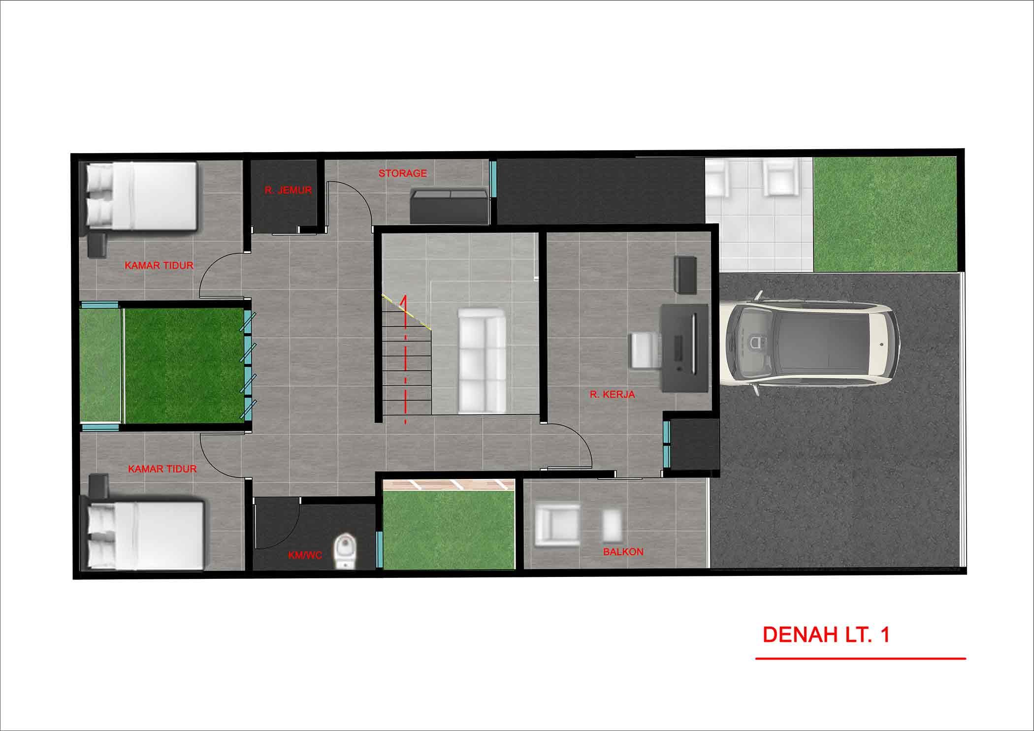 Denah lantai dua // Kenali's Studio