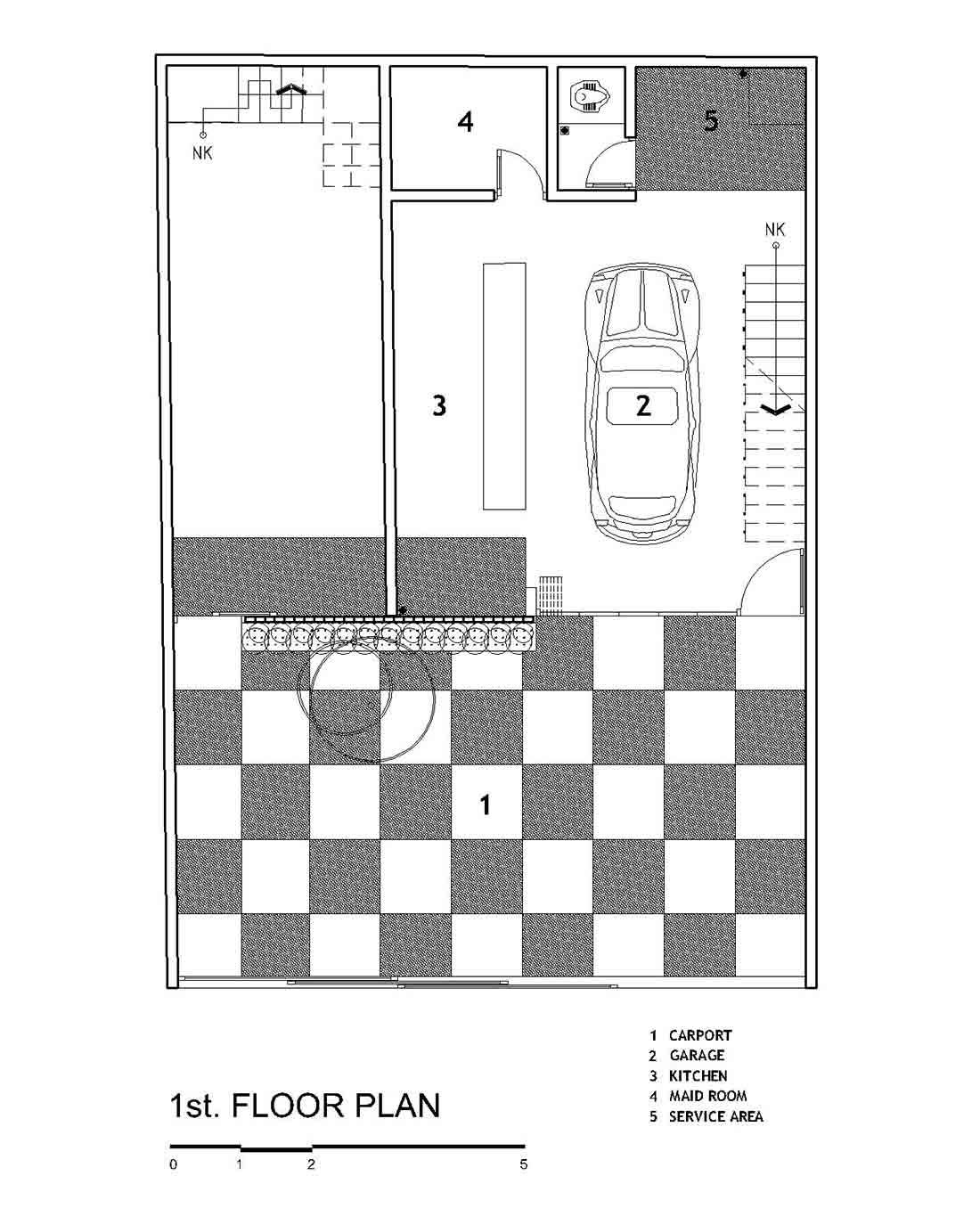 Denah lantai 1 Fitted House karya Bahtera Associates // arsitag.com