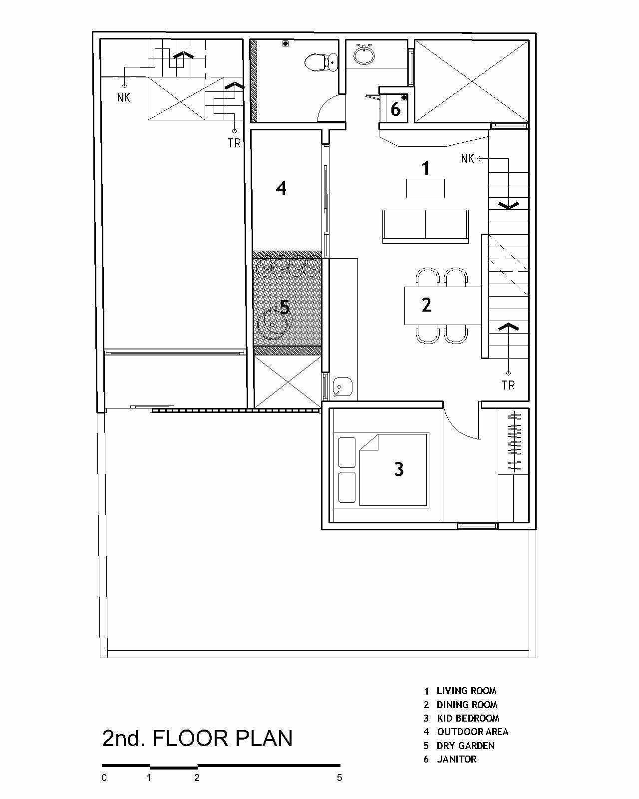Denah lantai 2 Fitted House karya Bahtera Associates // arsitag.com
