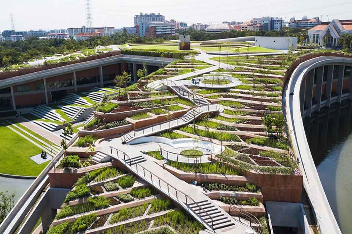 Atap hijau menjadi public space, karya Landprocess // landprocess.co.th