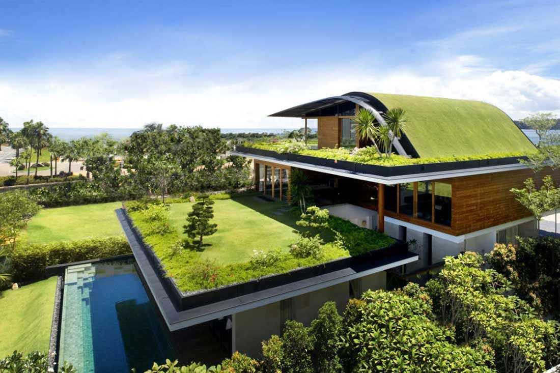 Atap hijau rumah bergaya modern, karya Guz Architects // archdaily.com