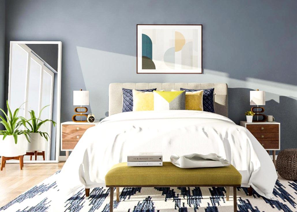 Kamar tidur bergaya mid-century modern dengan permainan pola cantik warna biru, viablog.modsy.com