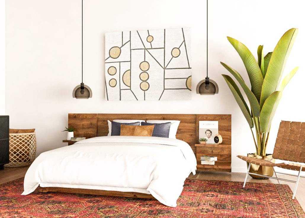 Kamar tidur bergaya mid-century modern dengan sentuhan unsur kayu // blog.modsy.com
