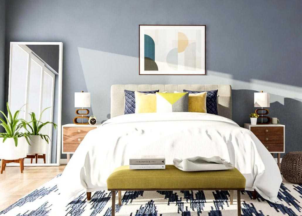 Kamar tidur bergaya mid-century modern dengan permainan pola cantik warna biru // blog.modsy.com