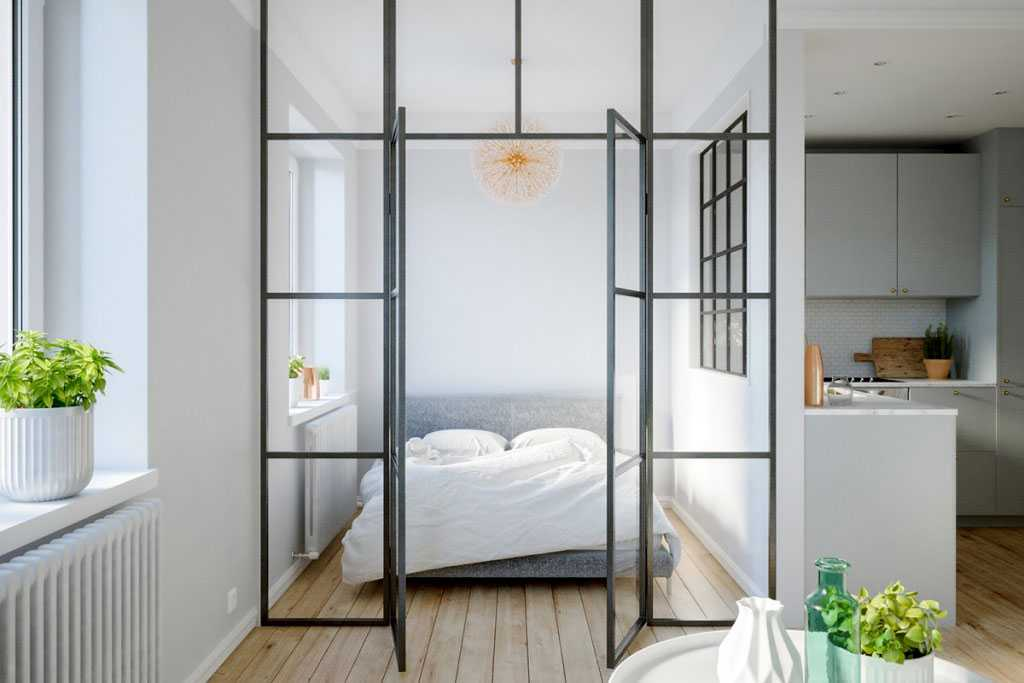 Desain partisi kaca dengan pintu karya Home Designing // home-designing.com