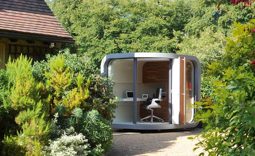 Kantor taman futuristik, via homebuilding.co.uk