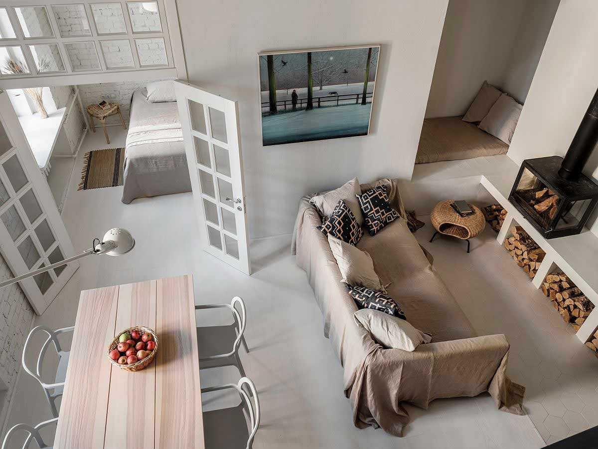 Desain interior apartemen open plan di Moskow karya Buro5, via decoist.com