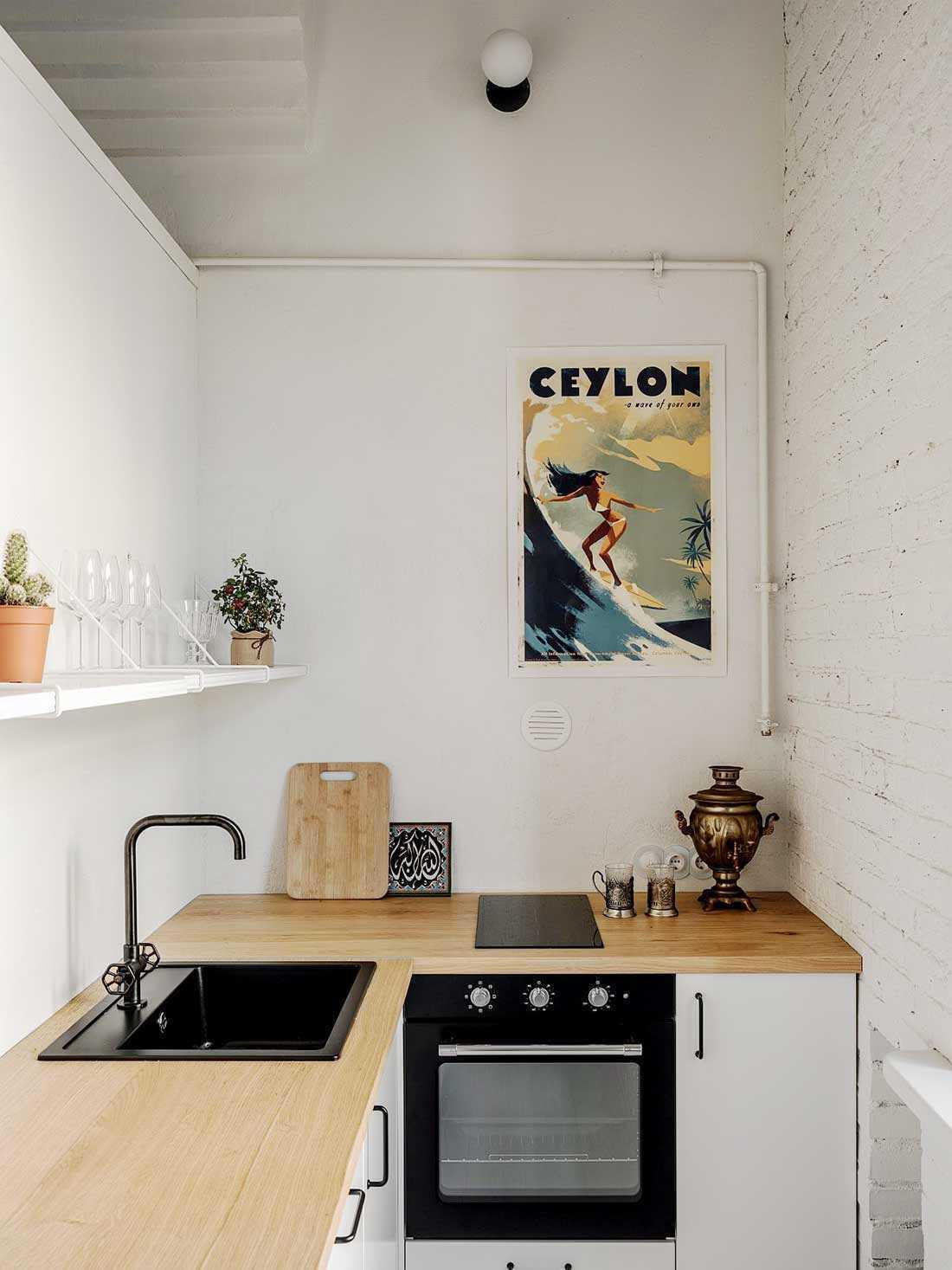 Desain interior dapur apartemen di Moskow karya Buro5 // decoist.com