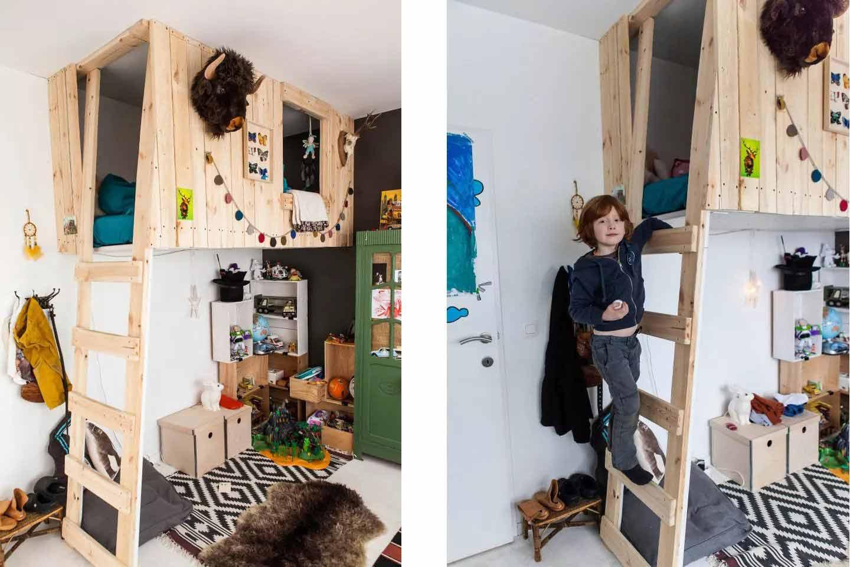 Kamar anak laki-laki dengan loafing bed karya Oeuf le Blog // thespruce.com