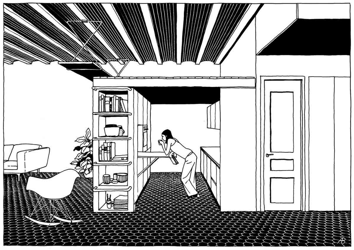 Desain Interior Apartemen dengan Meja Gantung Super Keren   Foto artikel Arsitag