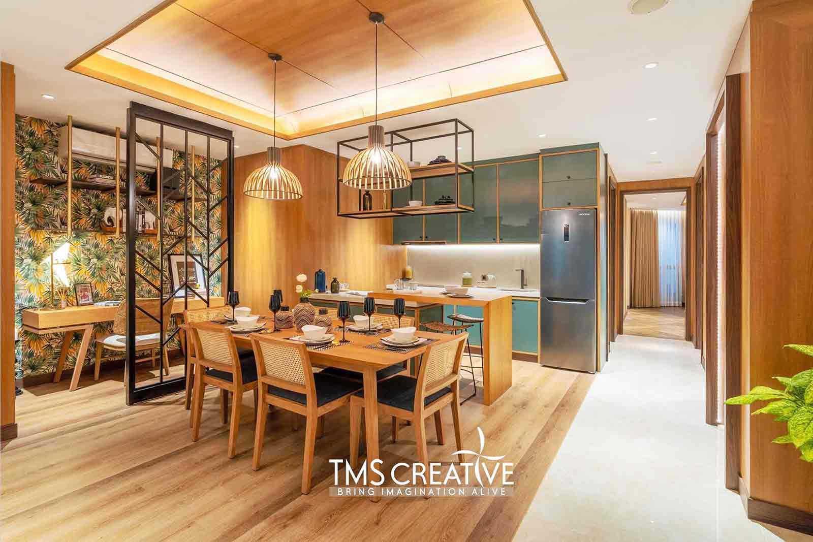 Penggunaan wallpaper dekoratif oleh TMS Creative, via arsitag.com