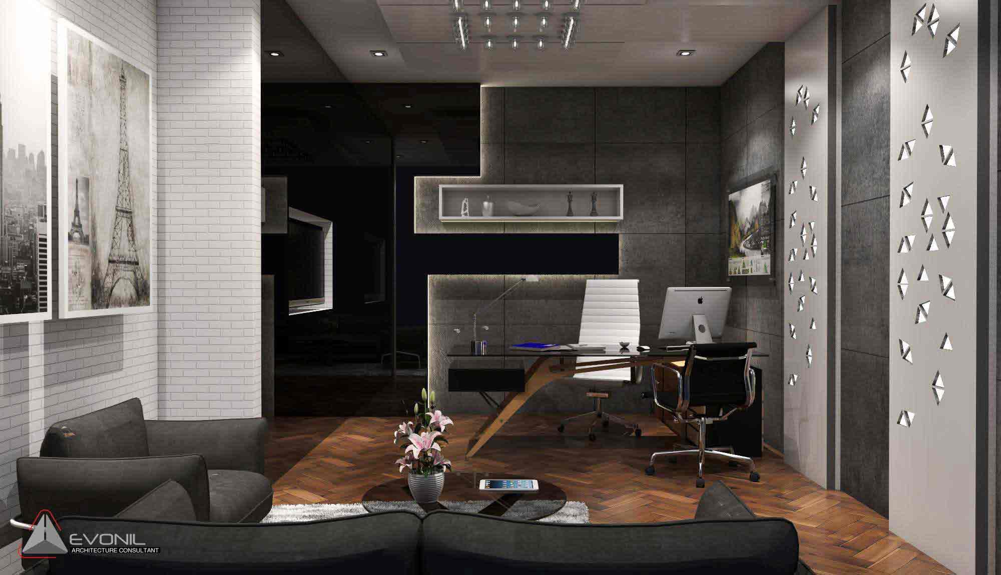 Desain meja kerja yang super sleek sebagai cerminan desain ruangan secara keseluruhan, ruang kerja karya Evonil Architecture, via arsitag.com