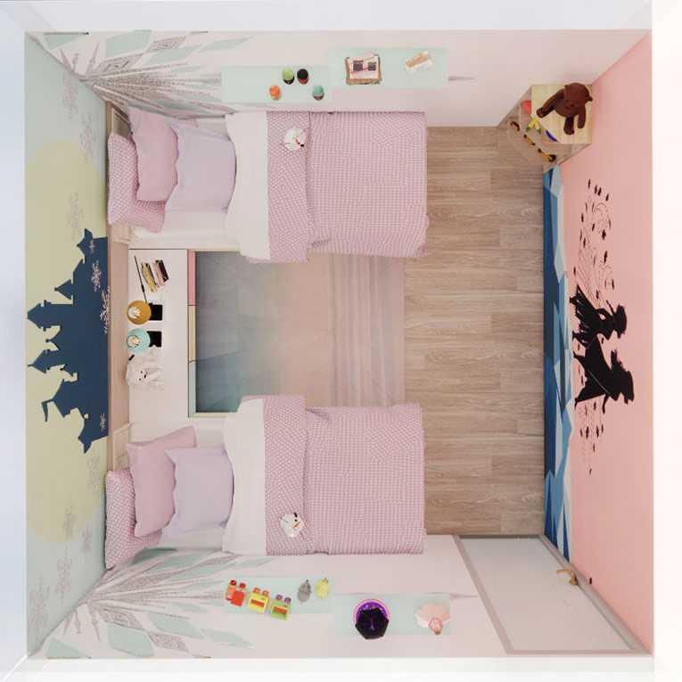 Tampak atas kamar anak perempuan dengan tema Frozen, ilustrasi dari penulis