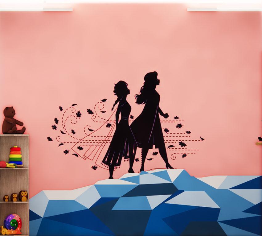 Salah satu dindinng dengan siluet Elsa dan Anna, ilustrasi dari penulis