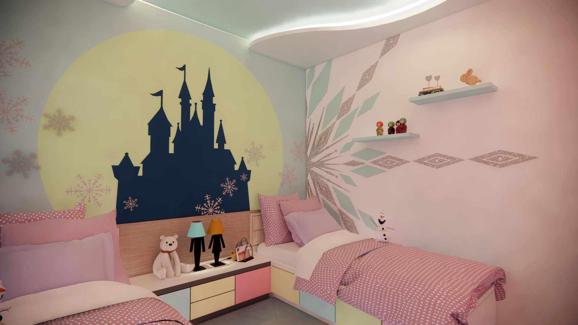 Suasana kamar saat malam hari, ilustrasi dari penulis