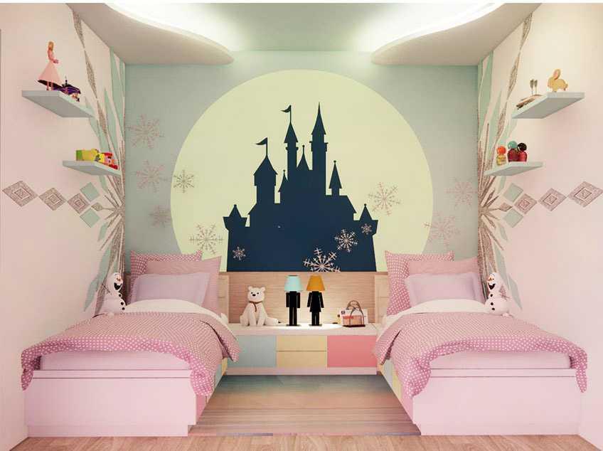 Perspektif kamar anak perempuan dengan tema Frozen, ilustrasi dari penulis