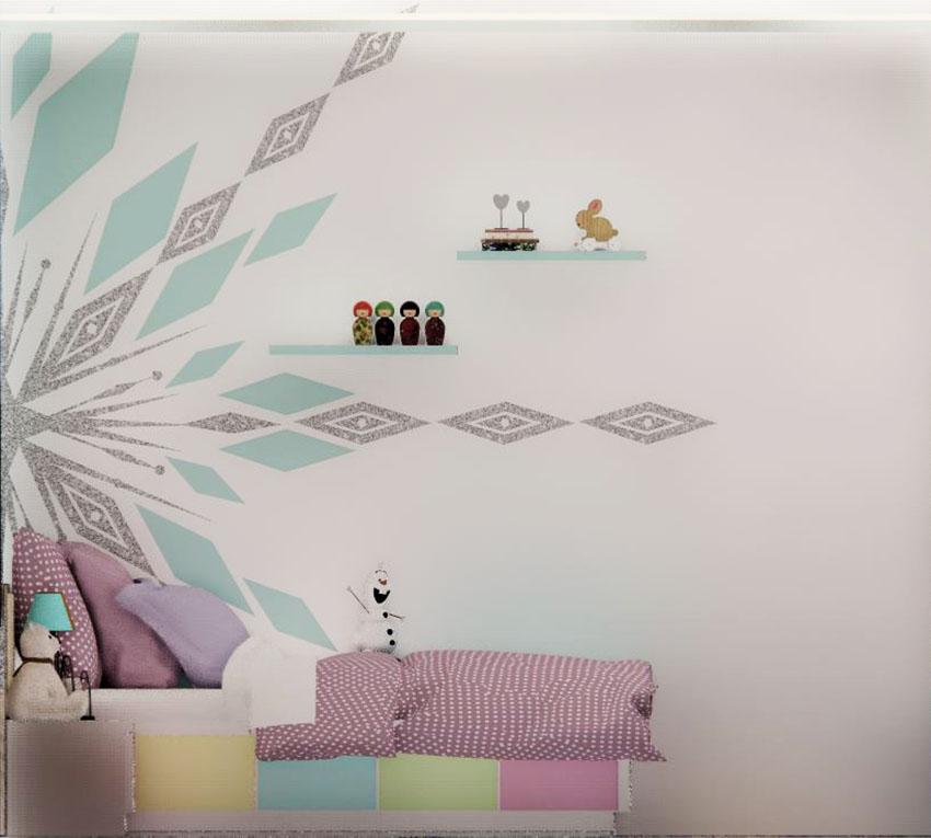 Pattern snowflakes di sisi dinding bagian samping, ilustrasi dari penulis