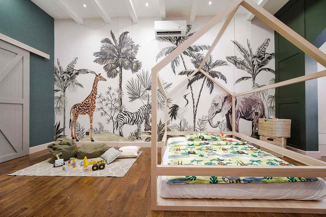 Dekorasi kamar anak tema binatang, karya Studio Alo, via arsitag.com