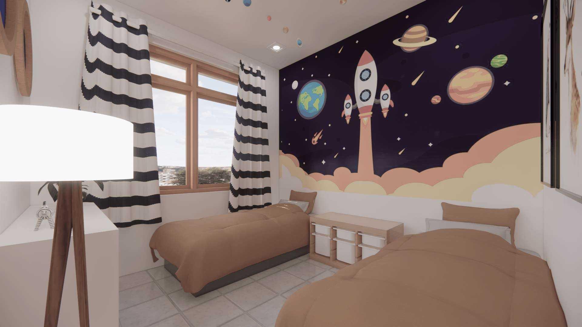 Dekorasi kamar tema tata surya, karya Adib Widhianto, via arsitag.com