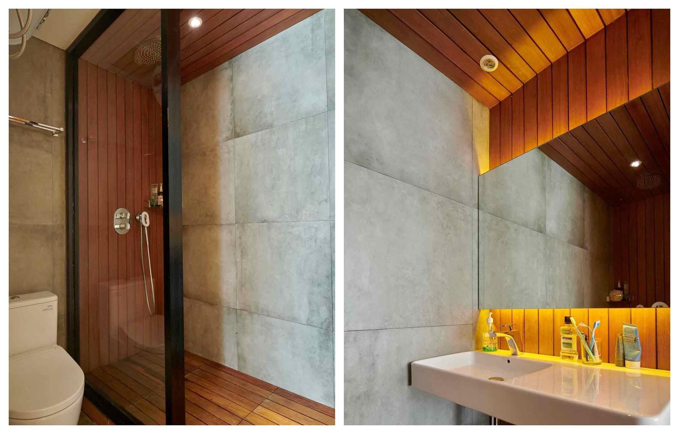 Perpaduan beton ekspos dan kayu untuk kamar mandi, karya Hadivincent Architects, via arsitag.com