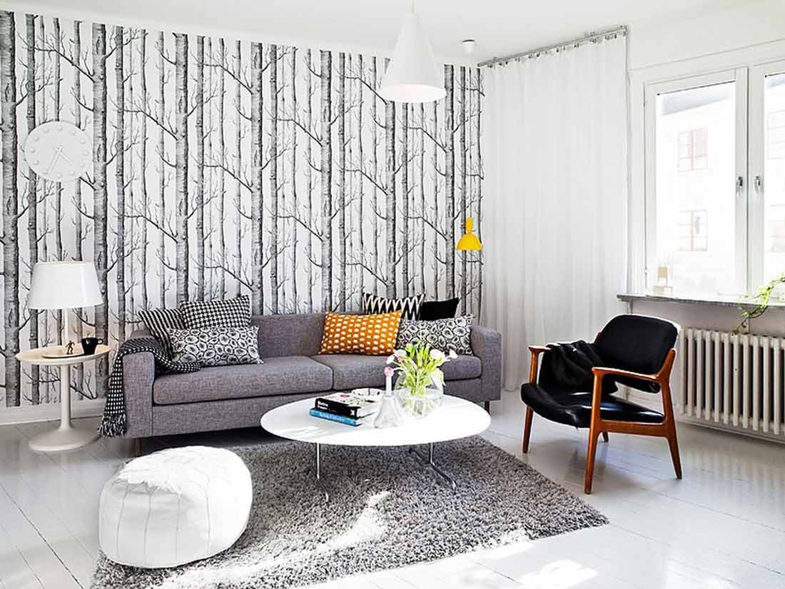 Wallpaper mempercantik ruang tamu minimalis Anda, via brasswindow.com