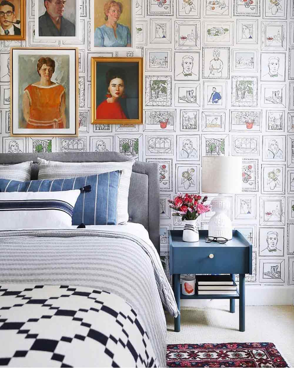 Pilih wallpaper yang paling sesuai dengan kepribadian Anda untuk kamar tidur, via pinterest.com