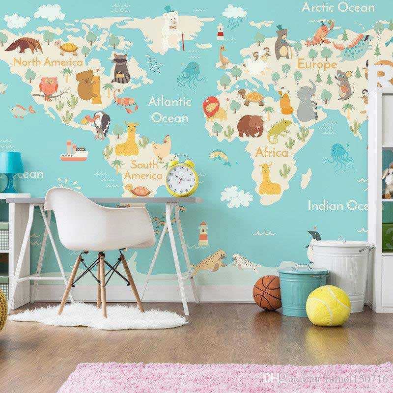 Wallpaper peta dunia dan karakter binatang untuk kamar si kecil, via dhgate.com