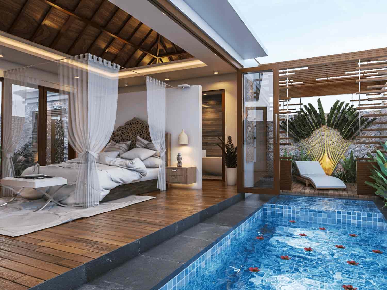 Four poster bed dengan kain penutup seperti kelambu, karya Imaji Architect, via arsitag.com