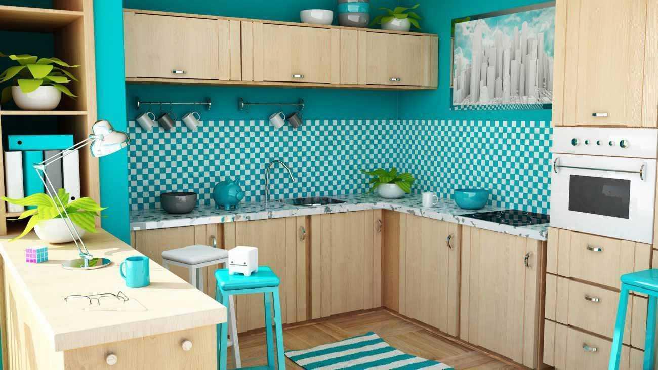 Backsplash dapur dengan wallpaper bermotif pola catur dengan warna pirus, via pearlpearson.com